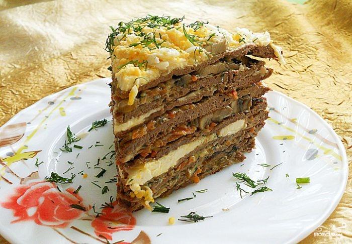 рецепт торт печЮночный с грибами