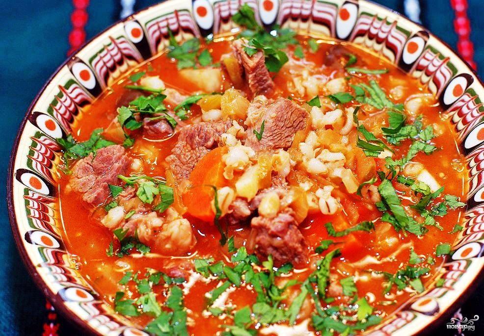 Суп из перловой крупы с мясом