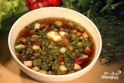 Рецепт Окрошка с килькой в томате