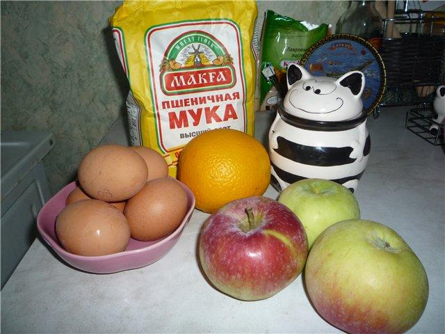 Рецепт Шарлотка с апельсинами и яблоками