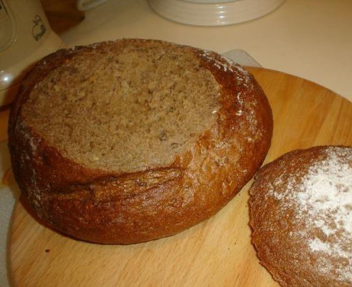 Рецепт Грибной суп в буханке хлеба
