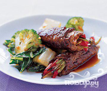 Рецепт Рулеты с говядиной и луком