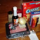 Рецепт Мясной рулет и макароны с сыром