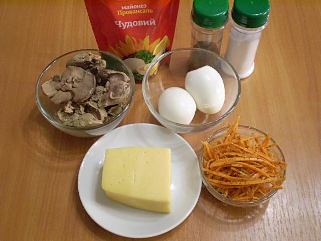 Рецепт Салат с корейской морковью и печенью