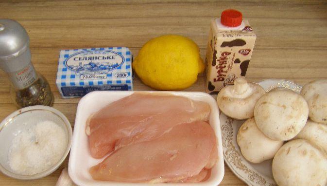 Рецепт Курица с грибами в сливках