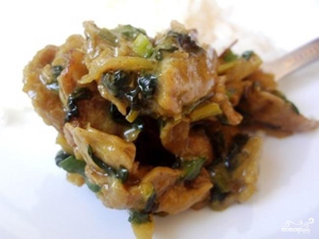 Рецепт Соевое мясо со шпинатом и сливками