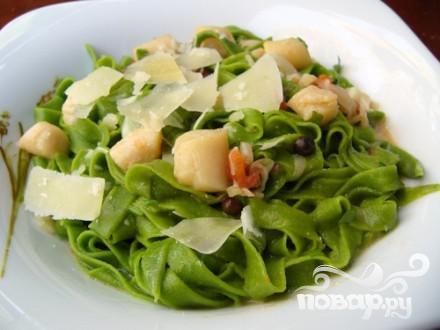 Рецепт Паста с морскими гребешками и шпинатом