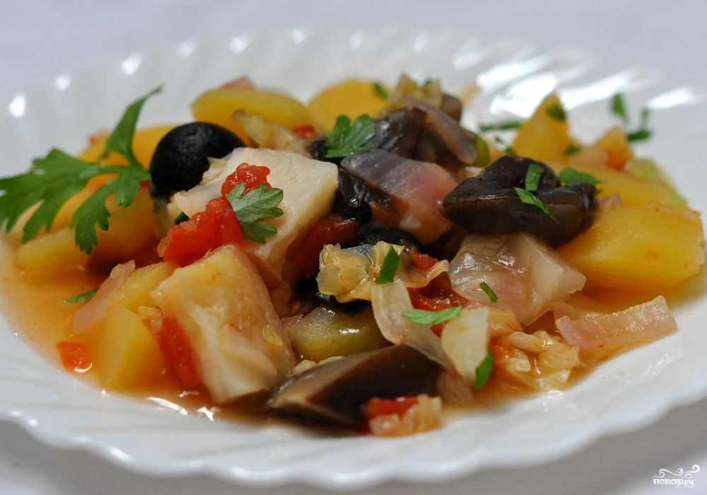 Грибы тушеные с овощами