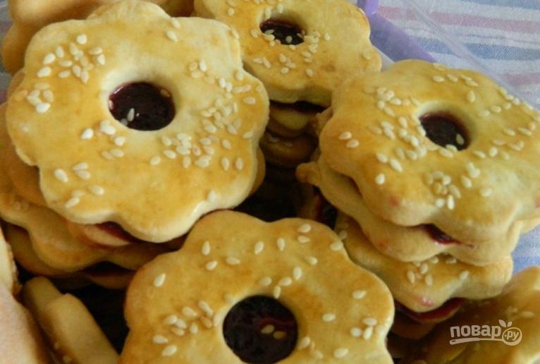 рецепт печенья на кефире с вареньем быстро