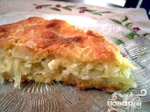 Капустный пирог из дрожжевого, заварного теста