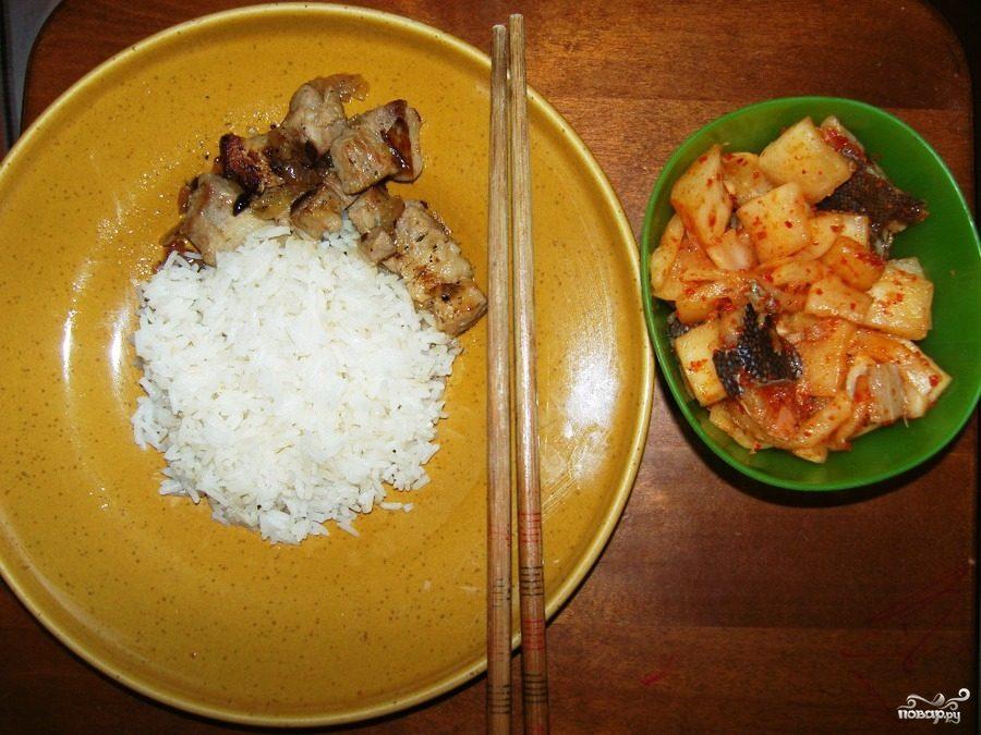 Дайкон с камбалой по-корейски