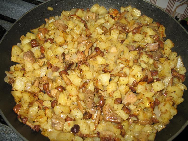 жареная картошка с грибами на сковороде с опятами