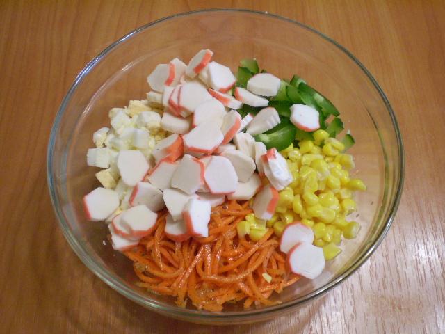 рецепты салатов с крабовыми палочками и морковкой