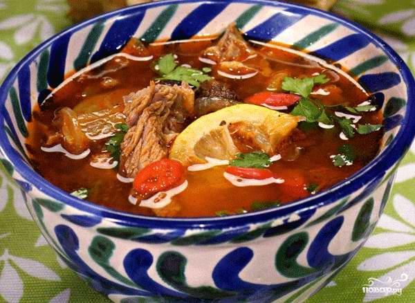 Суп с копчеными ребрышками