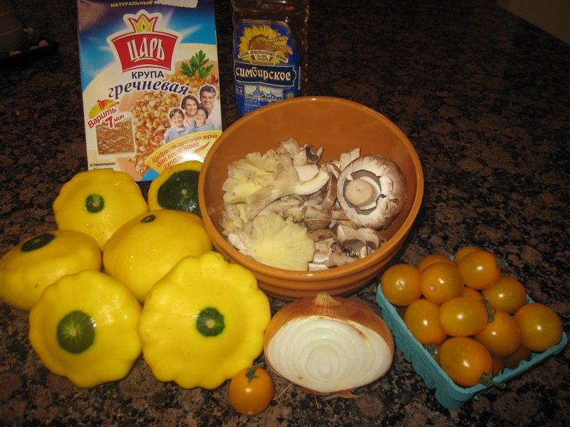 Рецепт Патиссоны, фаршированные гречкой