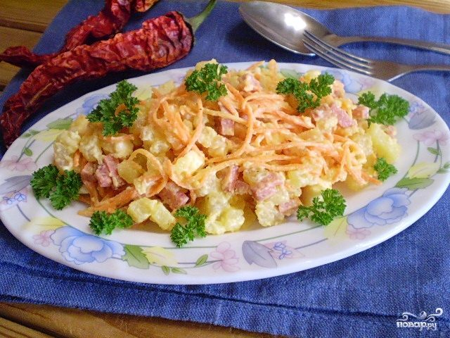 Салат ажурный с корейской морковью