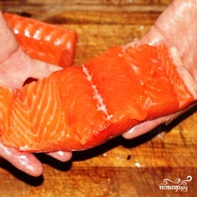 Рецепт Филе лосося с оливками на пару