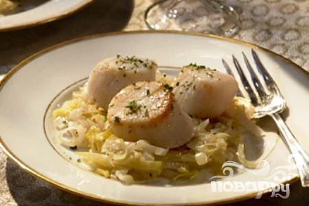 Морские гребешки с соусом из шампанского