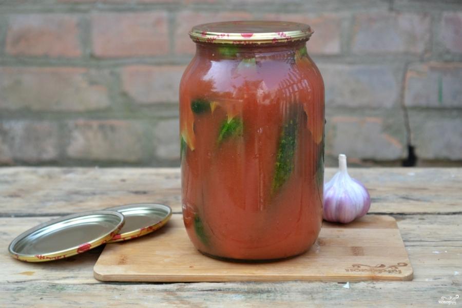 Огурчики в томатном соке - фото шаг 4