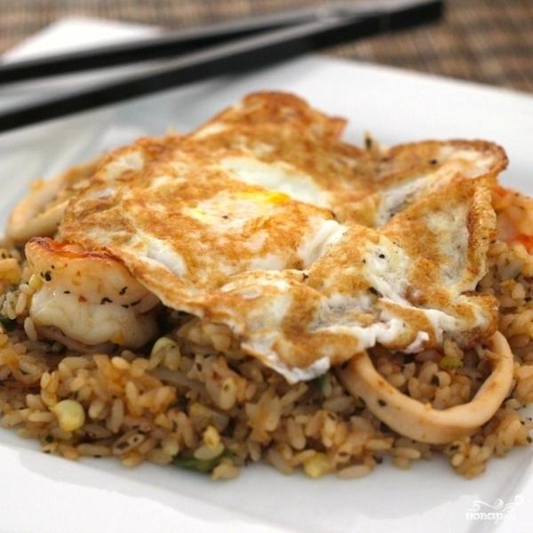 Жареный рис с морепродуктами по-тайски - фото шаг 7