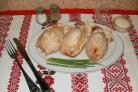 Фаршированные кальмары с рисом и яйцом
