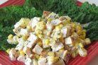 Салат с копченой грудкой и ананасом