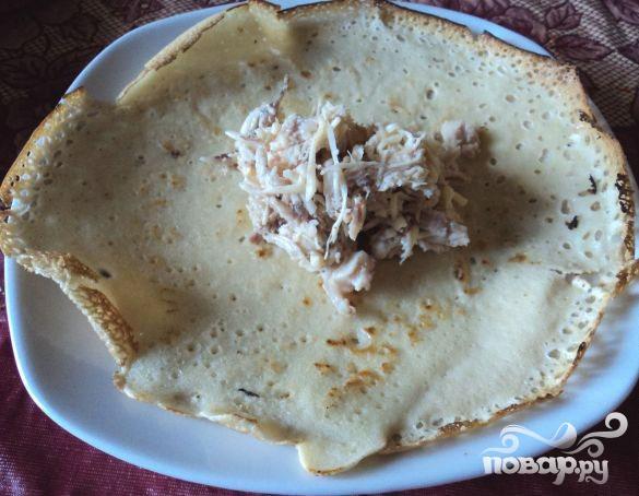 Блинчики с куриным филе и сыром - фото шаг 5