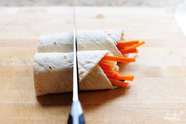 Овощные роллы из лепешек тортильяс - фото шаг 6