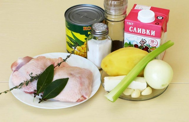 Рецепт Сливочный суп с курицей