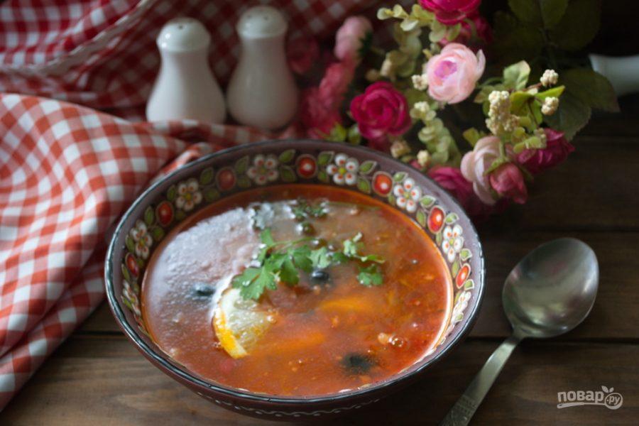 Солянка рецепт с колбасой пошаговый с фото