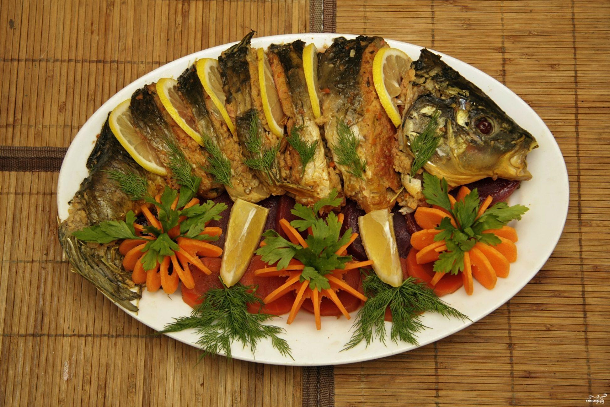 Фаршированная рыба в духовке целиком рецепт с фото пошагово в