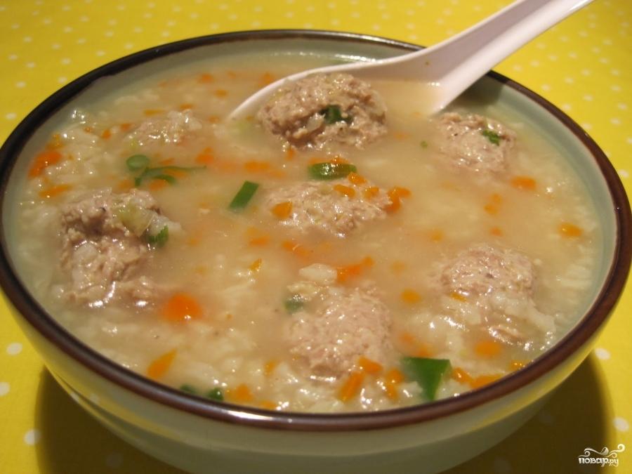 Рецепт Суп с фрикадельками и рисом