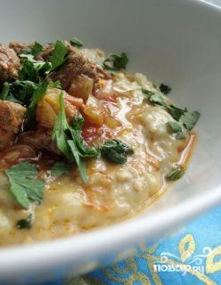 Рецепт Пюре из баклажанов с гуляшом из мяса