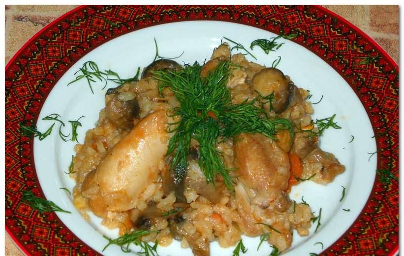 Рецепт плова с грибами и курицей