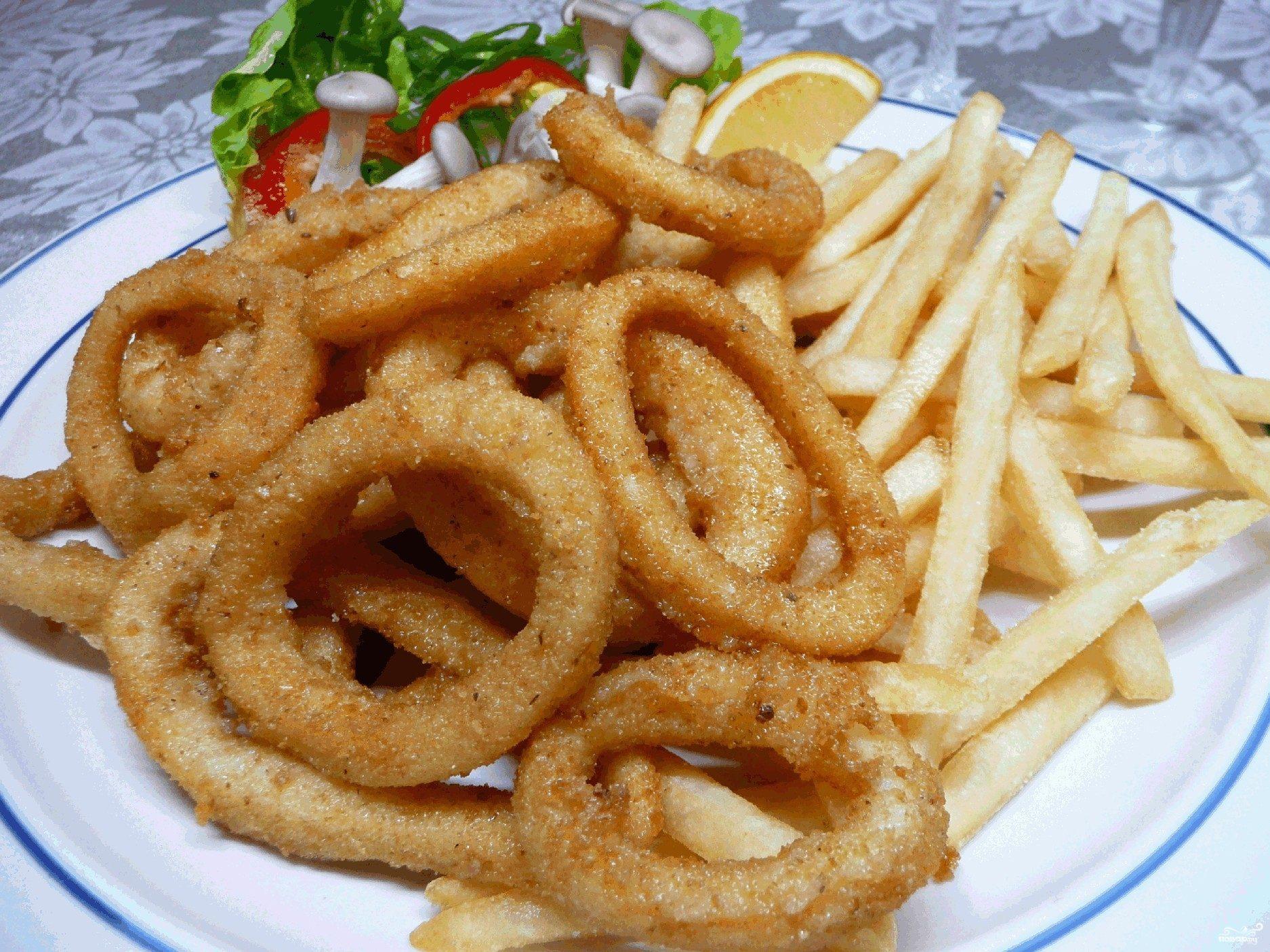 Жареные кольца кальмаров