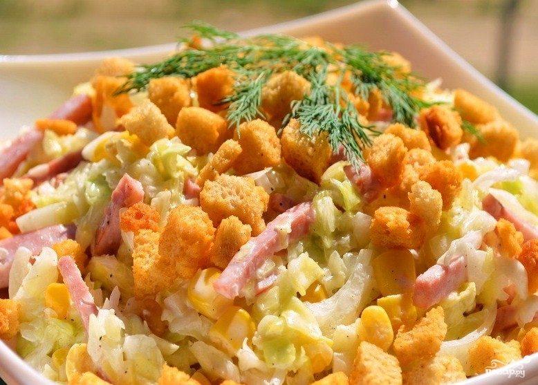 как готовить салат с сухариками рецепт