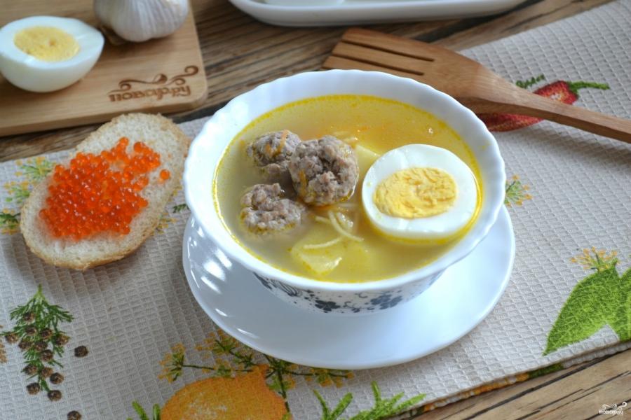 Суп с фрикадельками и яйцом - фото шаг 9