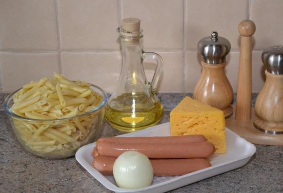 Рецепт Макароны с сосиской в духовке