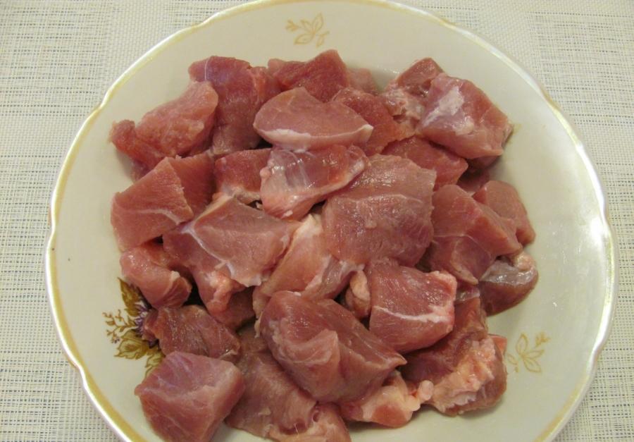 Рецепт Вкусное мясо кусочками на сковороде