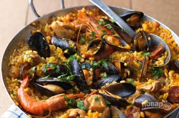Паэлья с морепродуктами рецепт классический пошагово