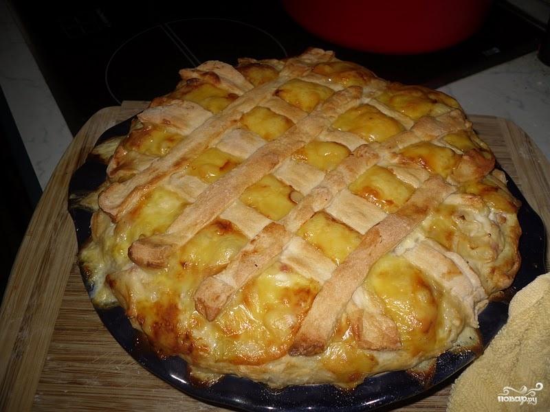 Пирог с луком и ветчиной - фото шаг 6