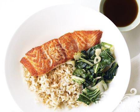 Рецепт Лосось с рисом и китайской капустой