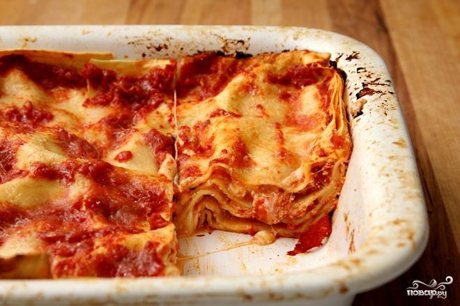 Лазанья с помидорами и сыром