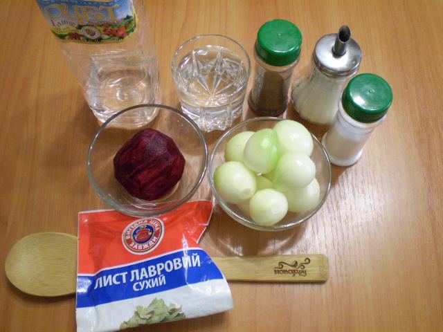 Рецепт Маринованный лук со свеклой на зиму