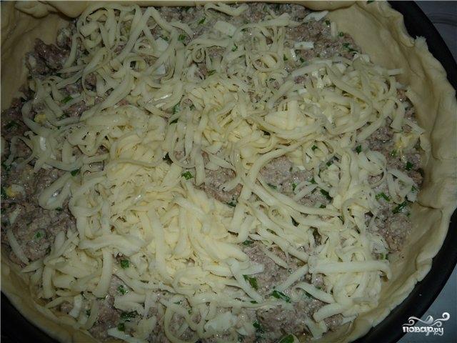 Пирог с мясом из слоеного бездрожжевого теста - фото шаг 5