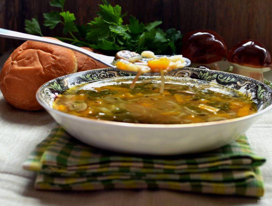Суп с тыквой и грибами