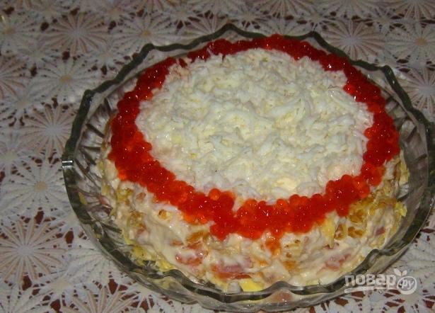 рецепт салата их семги и красной икрой