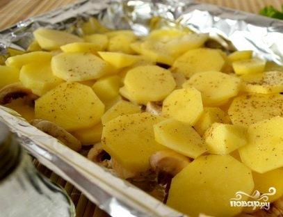 Запеченная картошка с шампиньонами и сыром - фото шаг 2