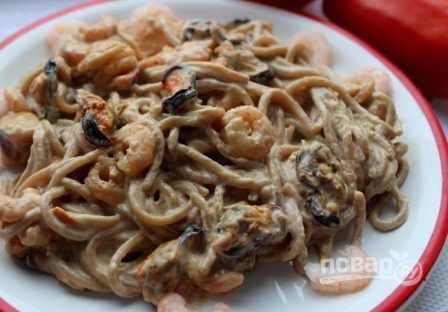 Гречневая лапша с морепродуктами - фото шаг 10