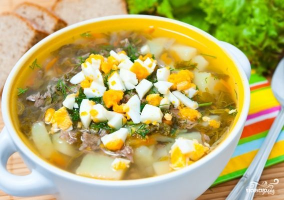 Куриный суп со щавелем